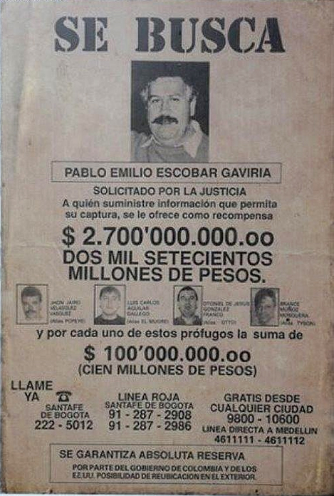 За поимку Эскобара давали огромную сумму денег