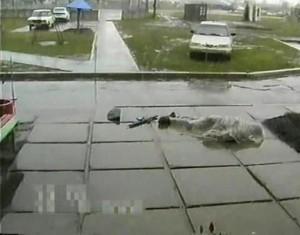 На месте расстрела Владимира Карапетяна. Охранник Владимир Семенов погиб на месте