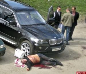 Фото с места убийства криминального авторитета Алексея Савина