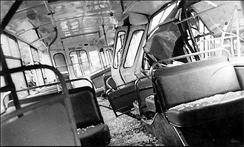 Взорванный бандой Троллейбус