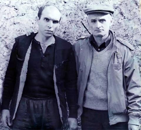 Слева воры в законе: Виктор Коростылев (Коростыль) и Анзор Баджелидзе - Цыпо (1989 год, Грузия)