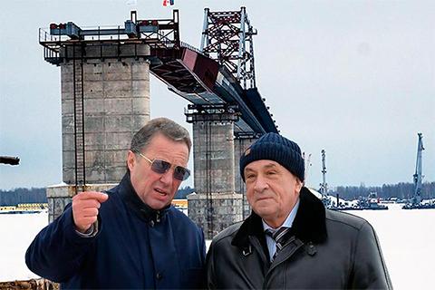 Александр Забарский и Александр Соловьев на строительстве мостов