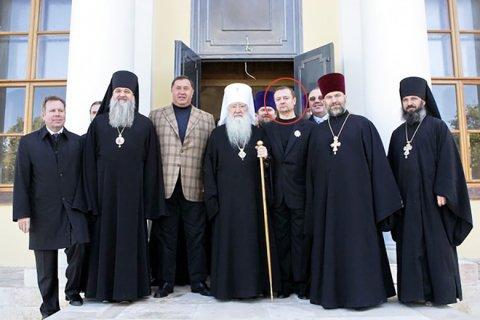 Лалакин и Павлинов (выделен) с митрополитом Ювеналием после награждения орденом святого благоверного князя Даниила Московского III степени
