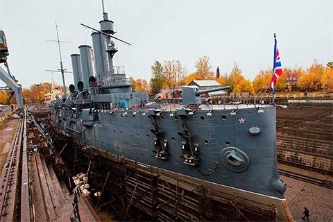 Крейсер «Аврора» во время реконструкции