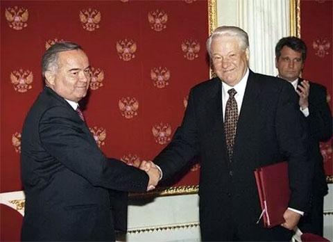 Ислам Каримов и Борис Ельцин