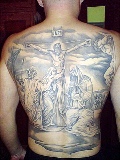 Библейская тематика довольно часто встречается в криминальных татуировках