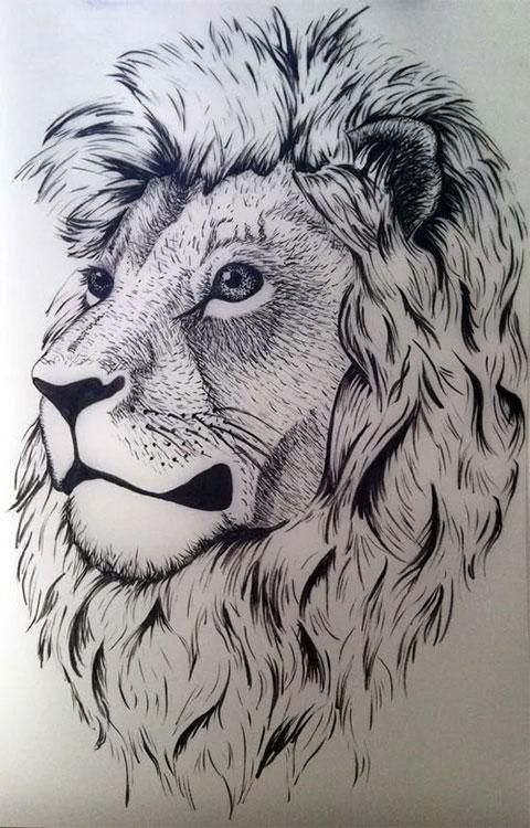 Эскиз льва для тату