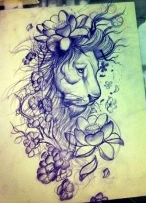 Эскиз для тату льва