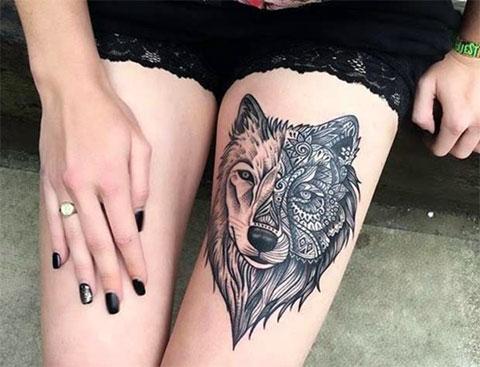 Женские татуировки на бедре фото