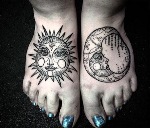Тату солнце и луна - фото