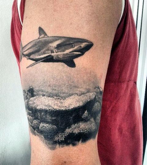 Тату акула на руке
