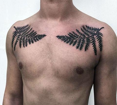 Листья папоротника на предплечьях - фото татуировки