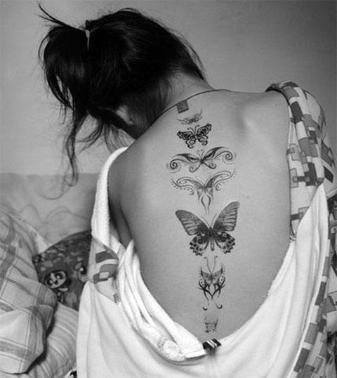 Тату бабочки на спине для девушек