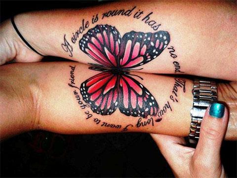 Парная тату бабочки на руке
