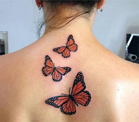 Тату бабочки на спине - фото