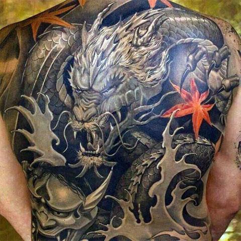 Тату китайский дракон на спине - фото