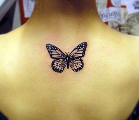 Женское тату бабочки на спине