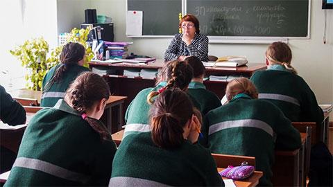 Учебный класс в Томской колонии для несовершеннолетних девочек