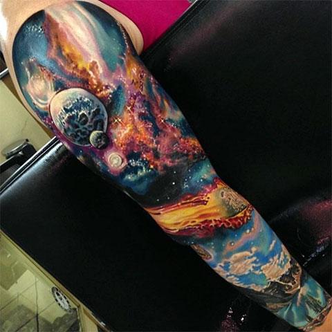 Тату рукав космос