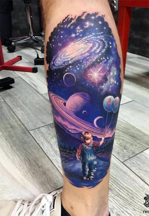 Тату космос на ноге - фото