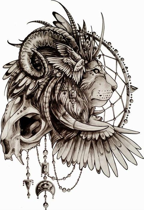 Эскиз для мужской татуировки со львом