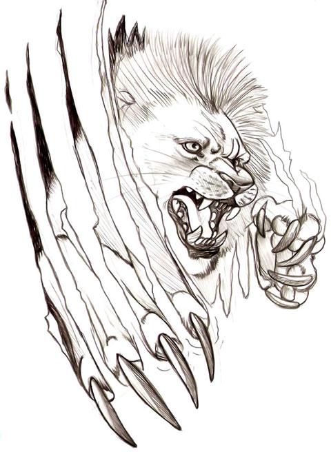Эскиз для мужской тату со львом
