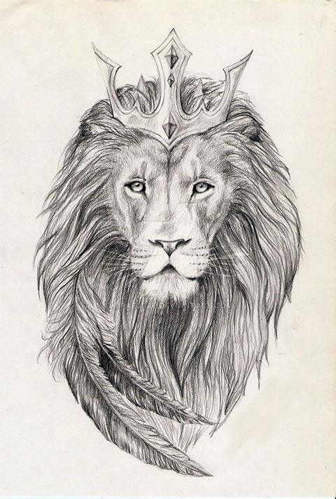 Эскиз для тату - лев с короной
