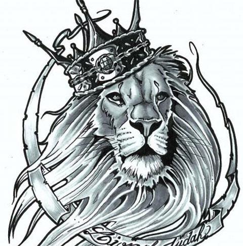 Эскиз льва с короной для мужчин