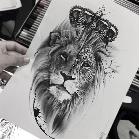 Эскиз тату льва на бедре