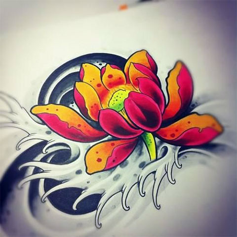 Эскиз для цветной татуировки лотоса на спине