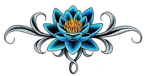 Цветной эскиз для татуировки лотоса на спине