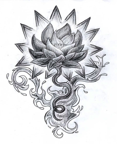 Цветок лотоса - эскиз для тату на спине