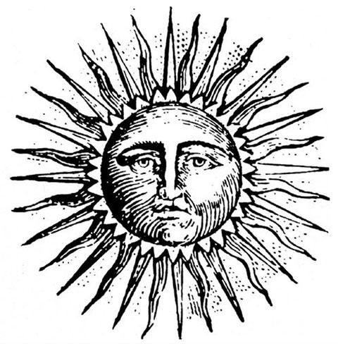 Эскиз тату солнце