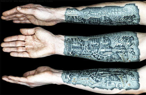 Тату биомеханика на руке - фото
