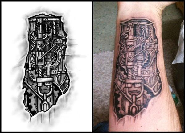 Эскиз и фото тату в стиле биомеханики
