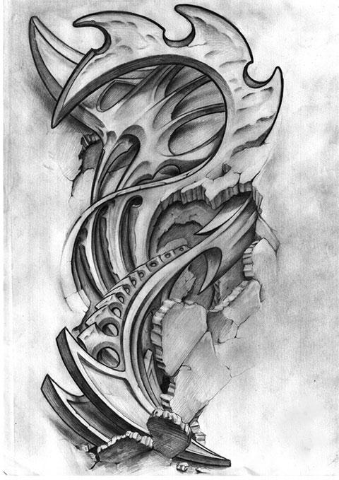 Эскиз для тату в стиле биомеханика