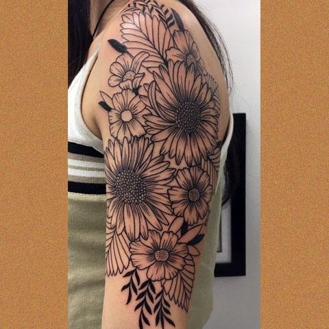 Тату-рукав с цветами