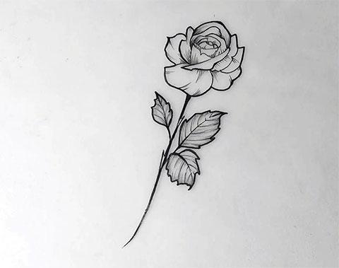 Эскиз тату цветы на руку
