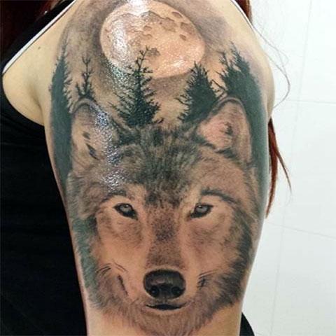 Тату волка у девушки на плече
