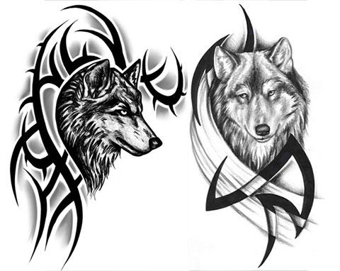 Эскизы тату волка на плече