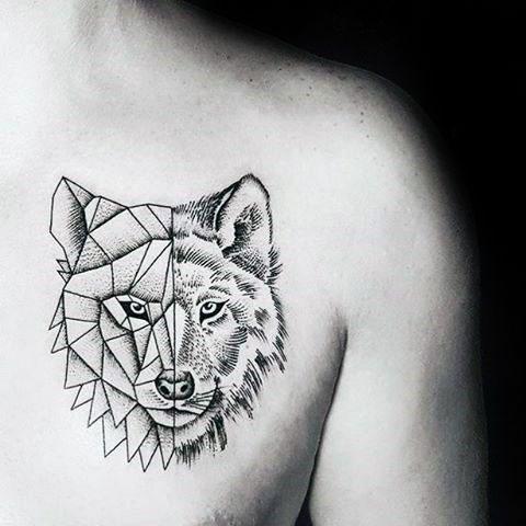 Фото тату волка на груди