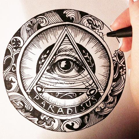 Эскиз для татуировки всевидящее око