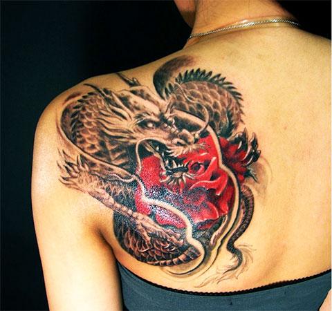Татуировка китайский дракон для девушек