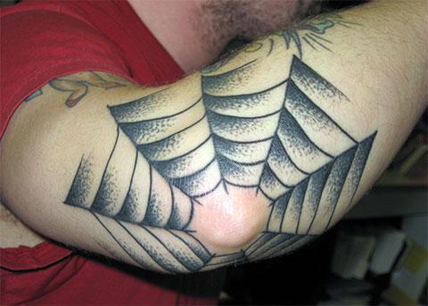 Фото татуировки паутина на локте