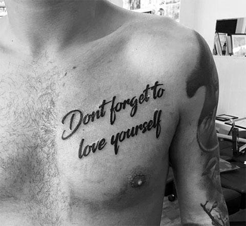 """Тату надпись про любовь - """"Не забывай любить себя"""""""