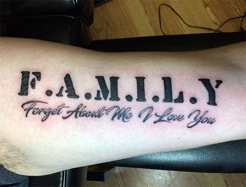 """Тату надписи про любовь на руке - """"Семья забудет обо мне, я люблю тебя"""""""
