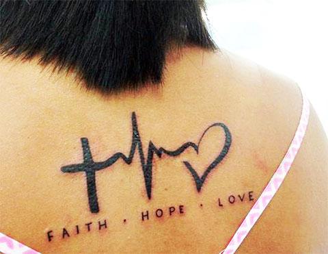 Тату вера надежда любовь на спине