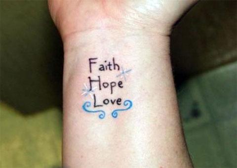 Тату вера надежда любовь на запястье