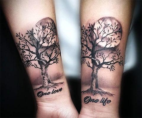 Парная тату надпись - одна жизнь одна любовь