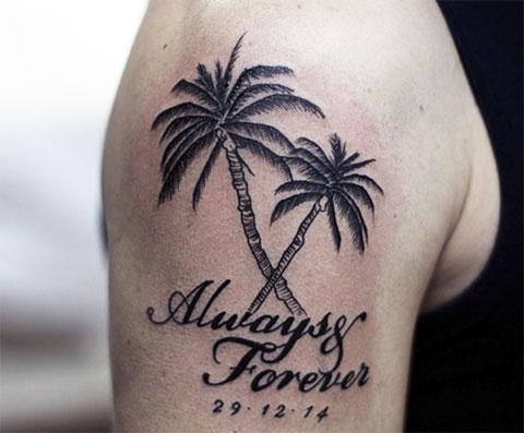 Тату пальмы на плече - фото